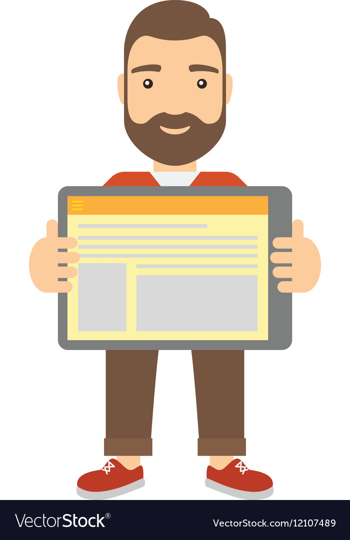 Man showing tablet screen close-up vector image