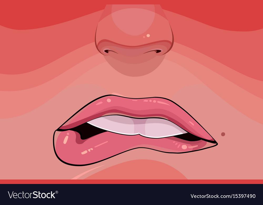 Cartoon female to bite lips closeup vector image