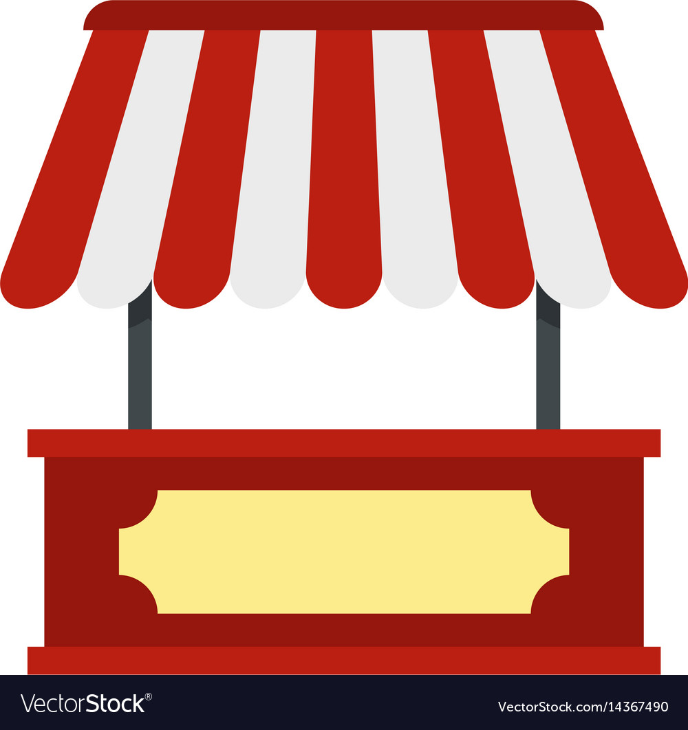 Market stall with red and white awning icon Vector Image
