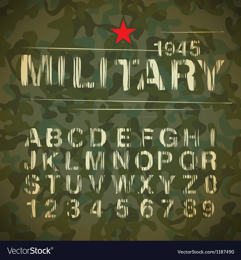 Military Vintage Alphabet vector image