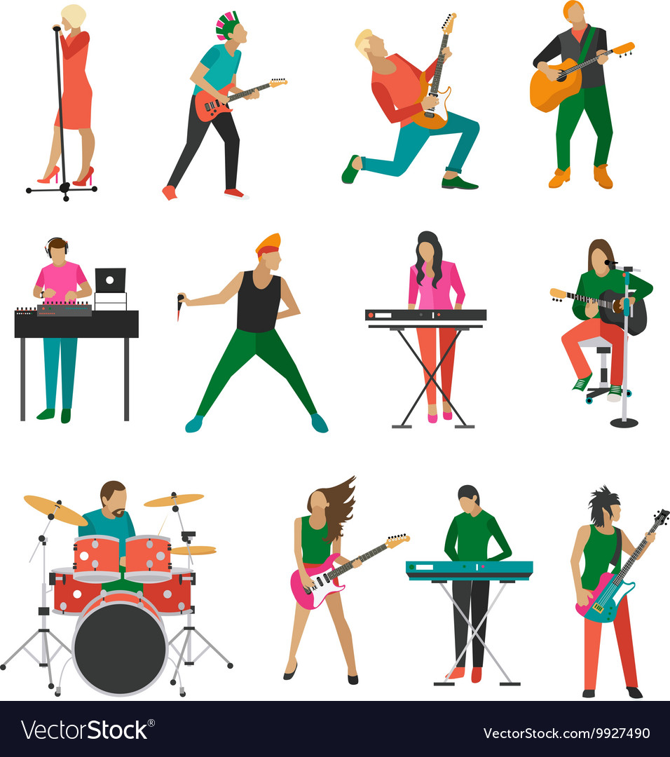 Set of rock musicians and singers Music vector image