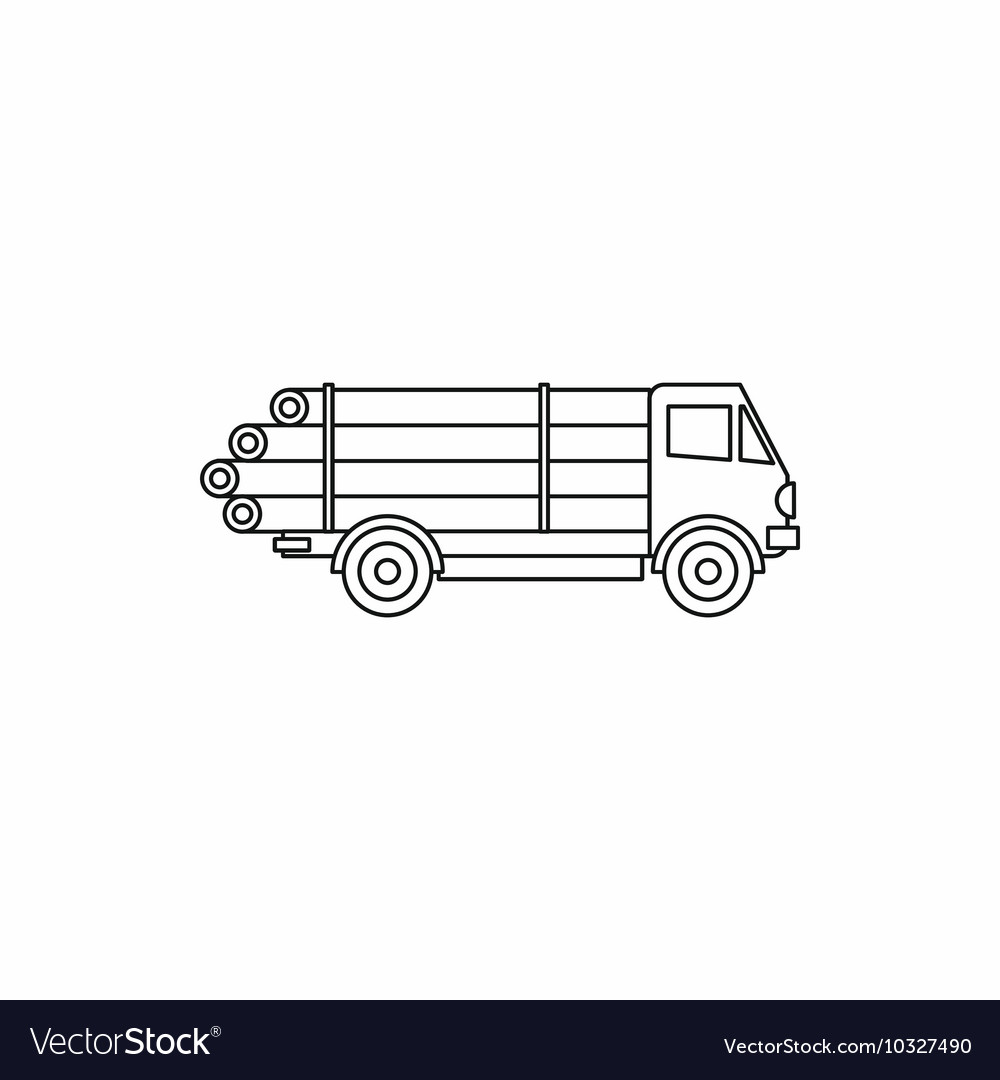 timber wood truck icon outline style royalty free vector