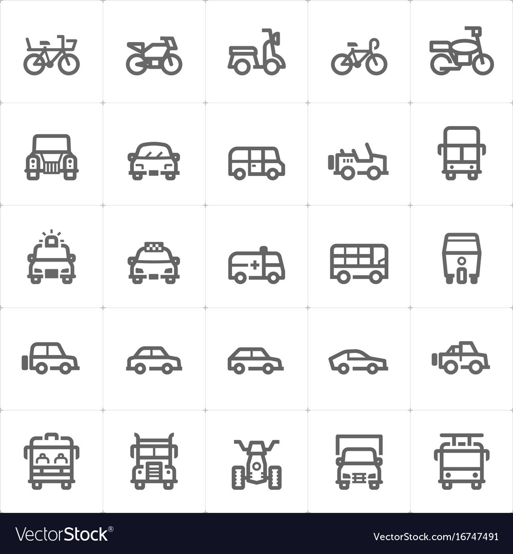 Icon set - vehicle and transport vector image