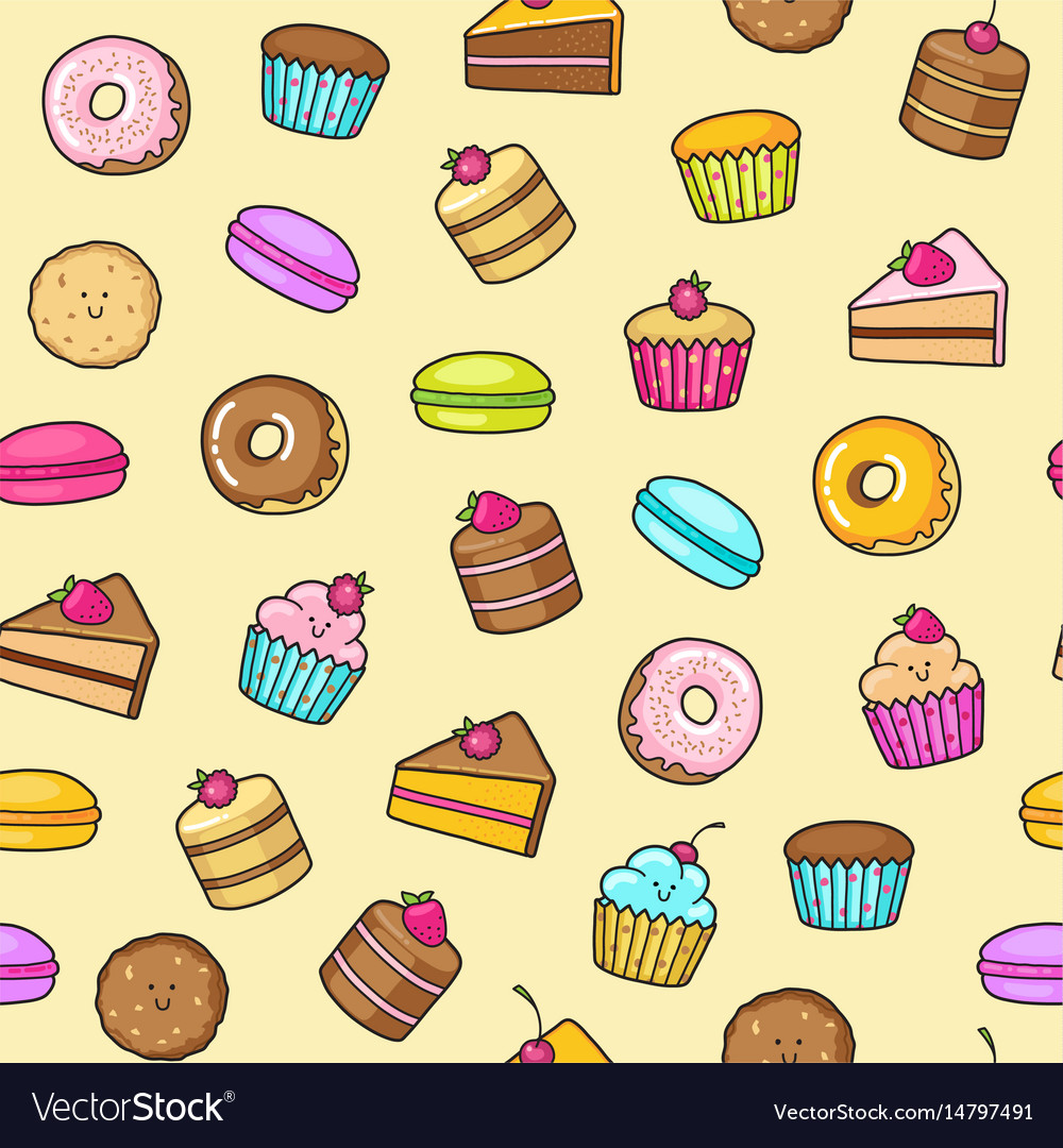 Kawaii seamless background of sweet and dessert vector image