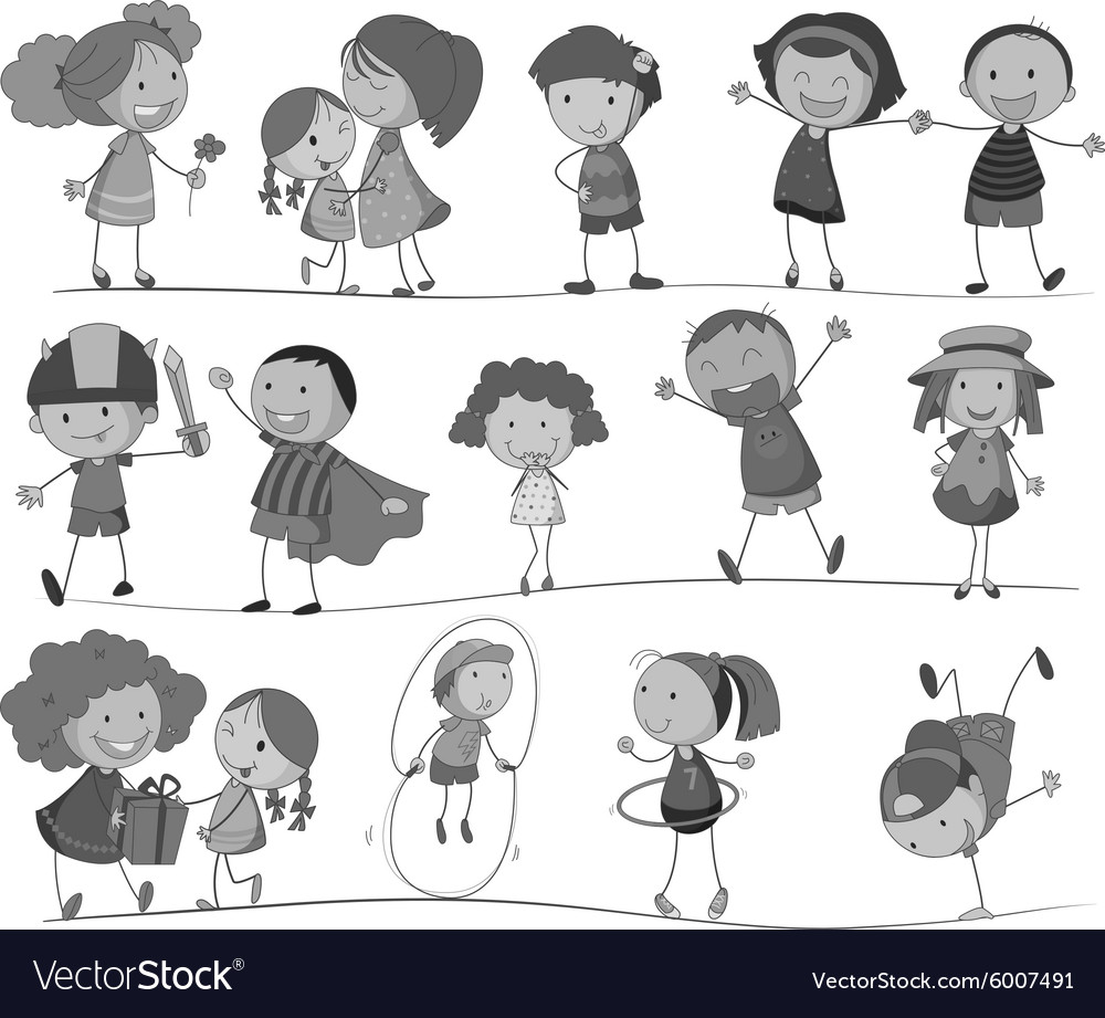 Set of children in black and white vector image