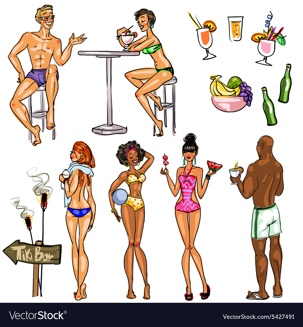 Tiki Bar Collection Hand drawn vector image
