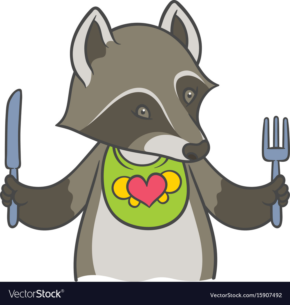 Cute cartoon raccoon holding a knife and fork vector image