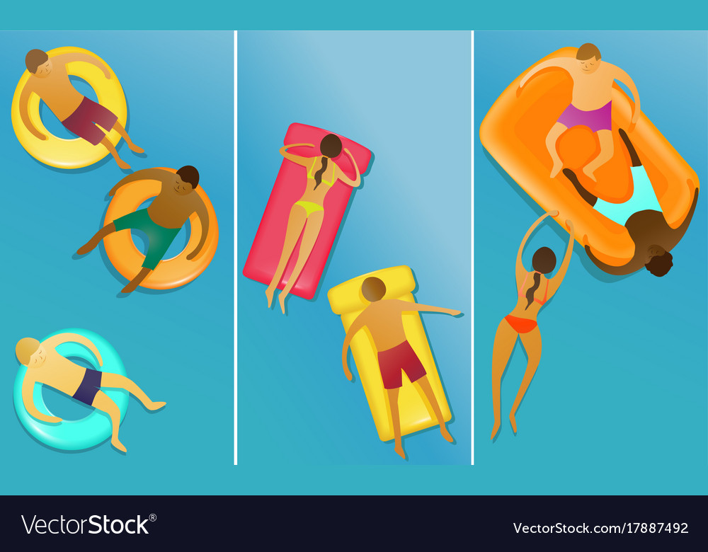 People enjoying swimming vector image