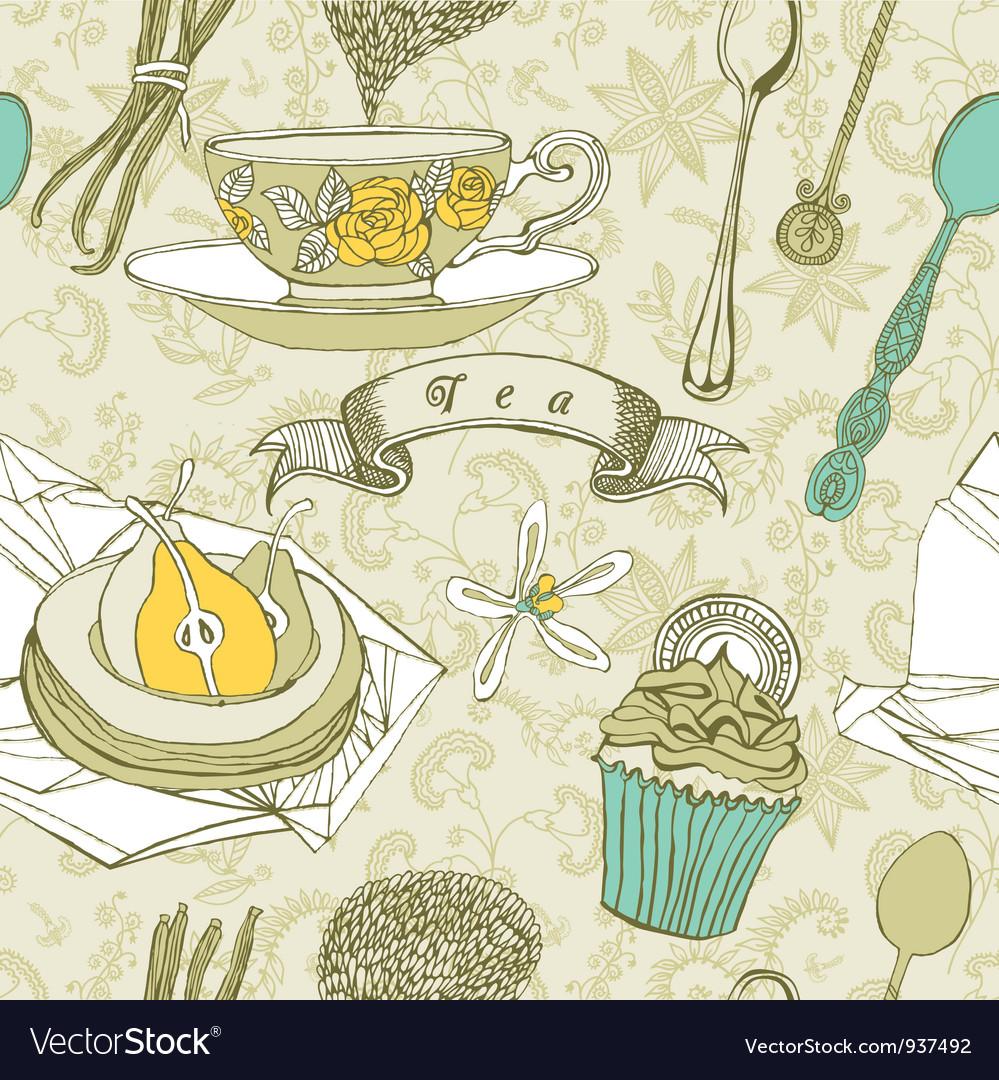 Vintage Tea Time Pattern vector image