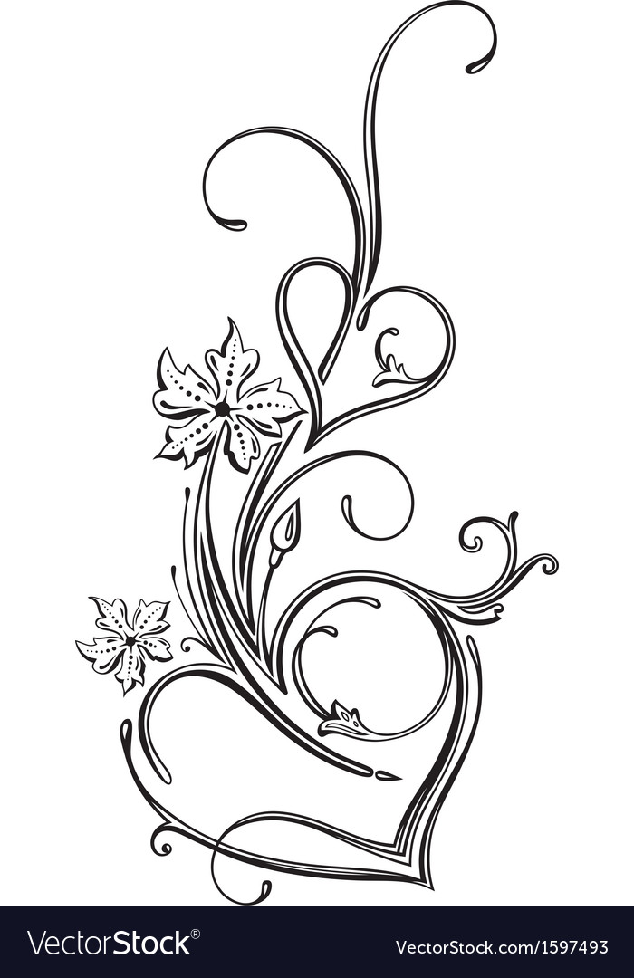 Hearts ornament vector image