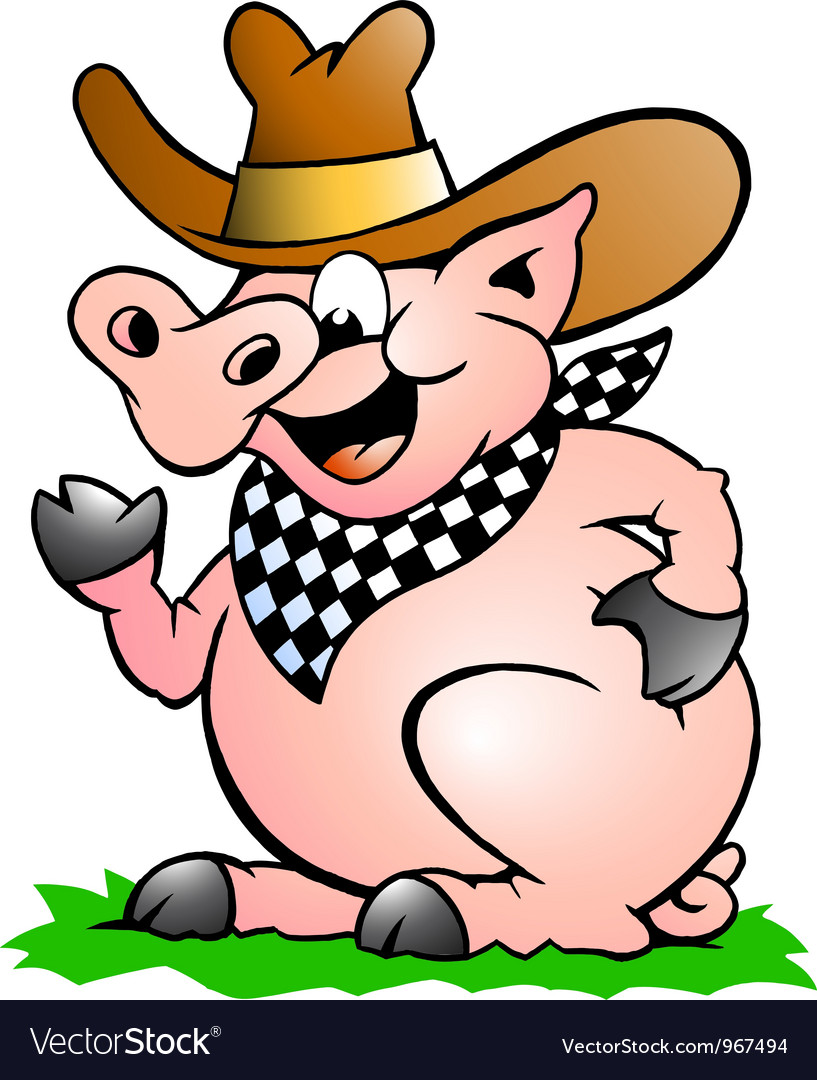 Hand-drawn of an Pig Chef that Welcomes vector image