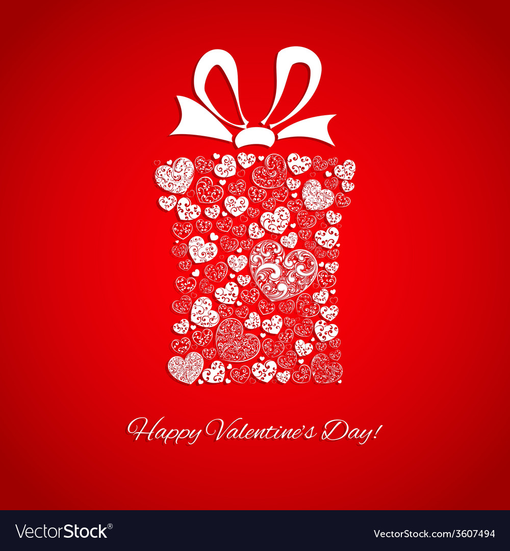 Gift box made of small hearts vector image