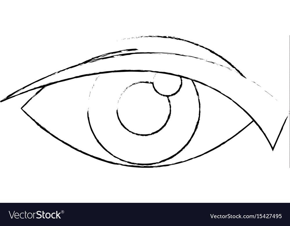 Eye look watch cartoon icon vector image
