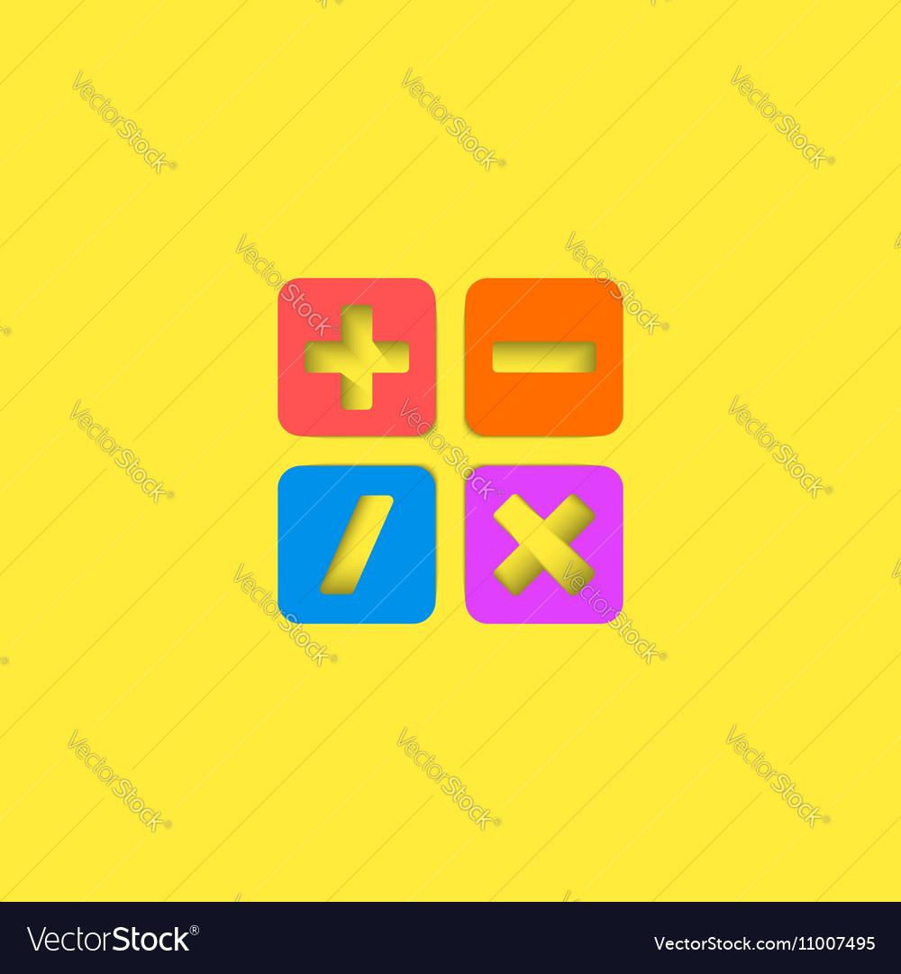 Mathematical symbols ui calculator logo mockup vector image
