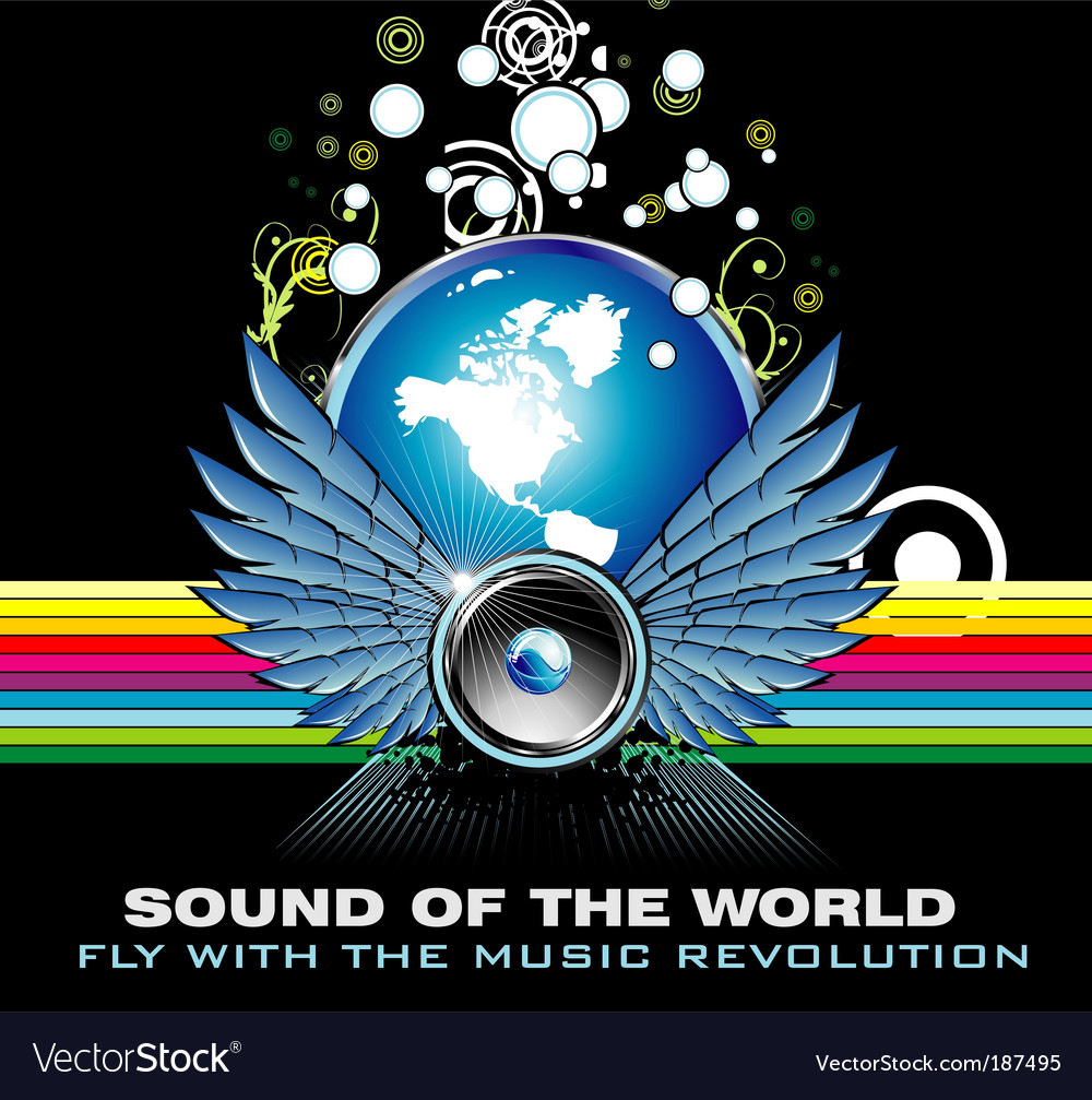 Music world rainbow background vector image