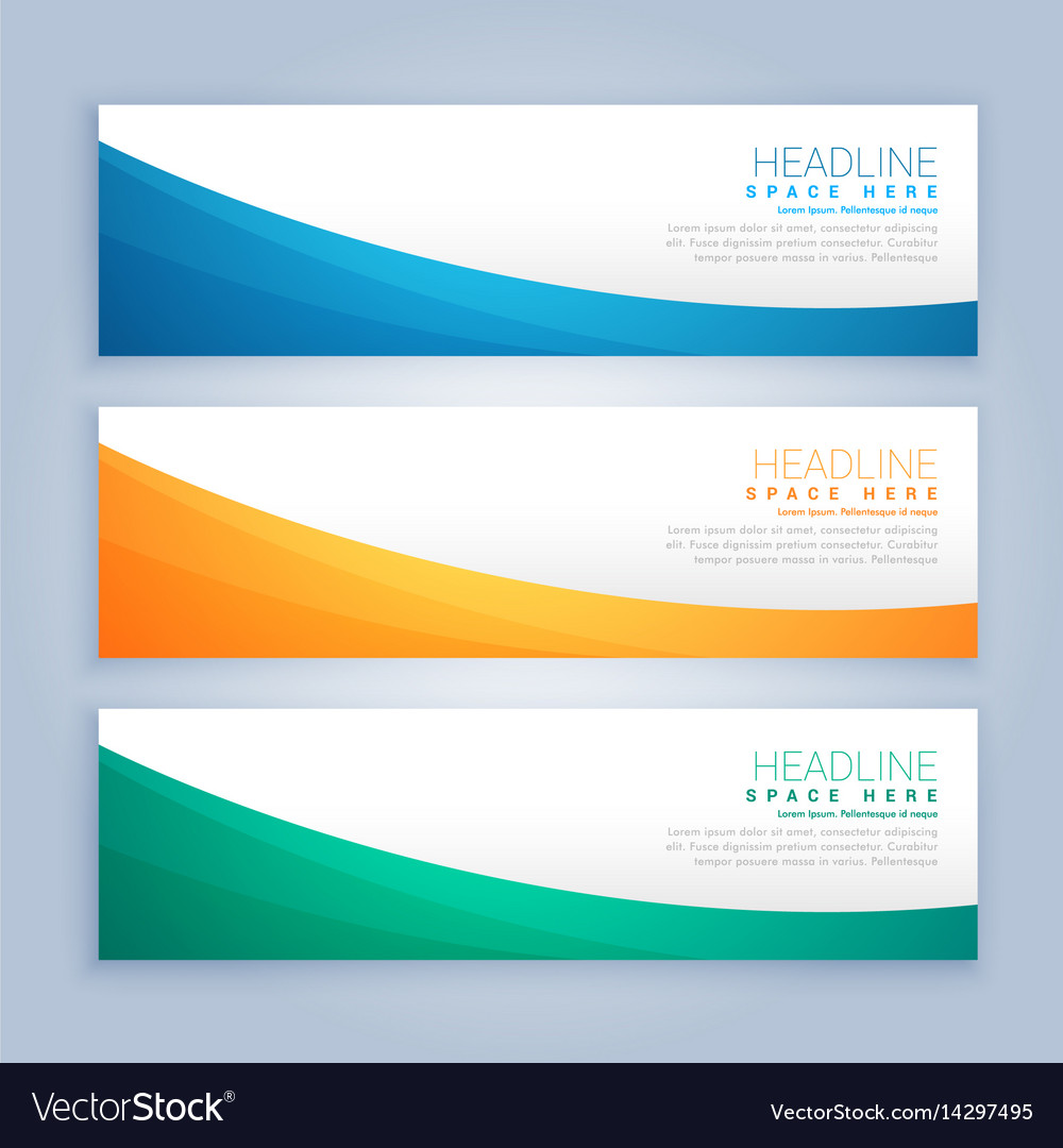 Three clean business banners and header set vector image