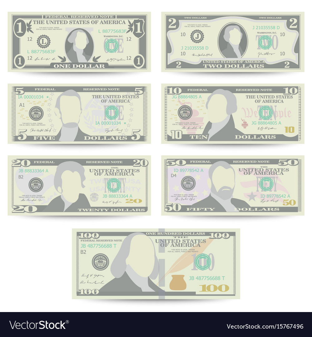 Dollars banknote set cartoon us currency vector image