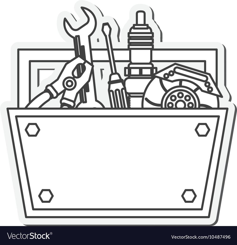 Tool kit box instrument design vector image