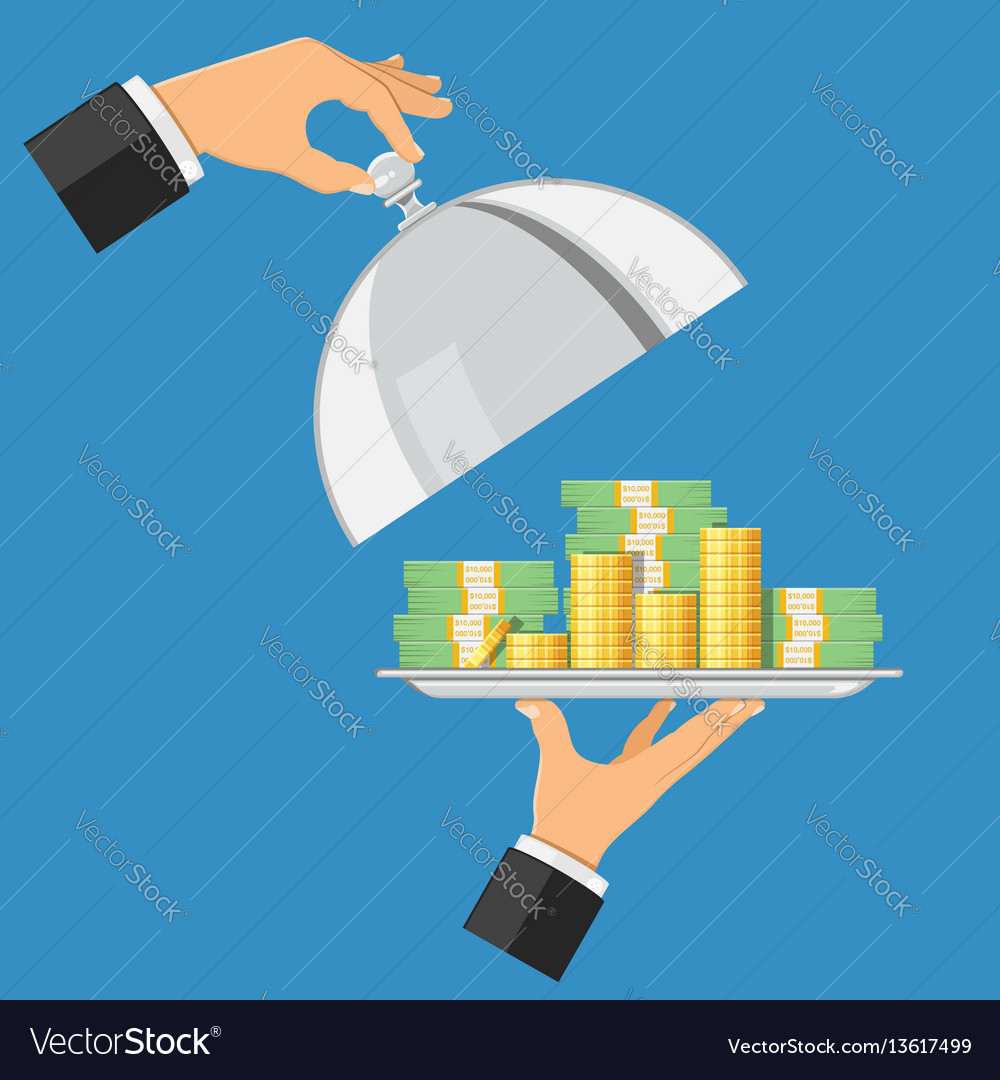 Money on tray vector image