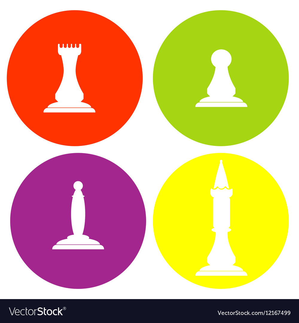 Monochrome icon set with chess vector image