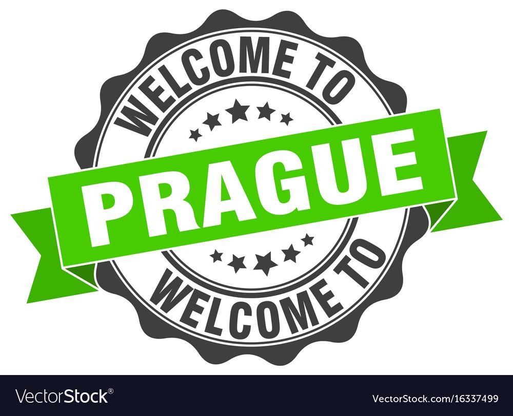 Prague round ribbon seal vector image