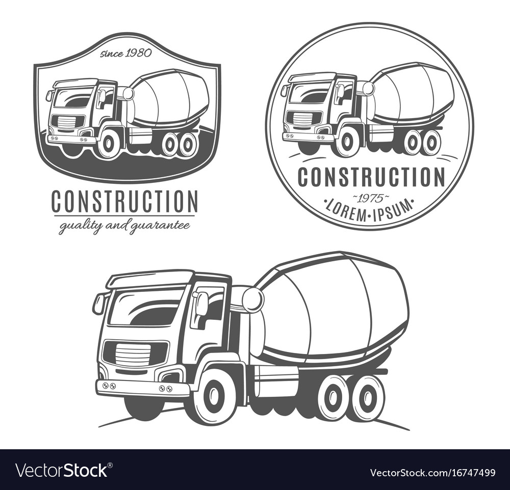 Set of logos with concrete mixer truck vector image
