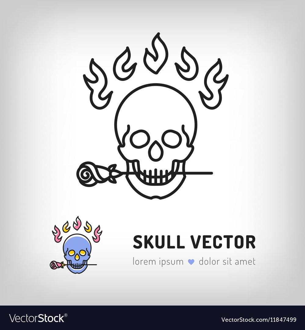 Skull logo design template Line art icon vector image