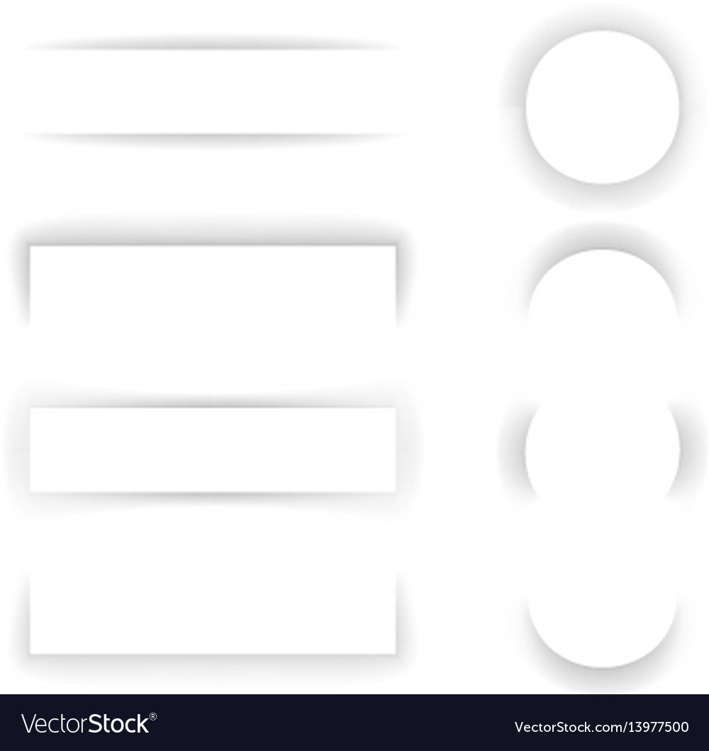 Shadow paper template effect set transparent vector image