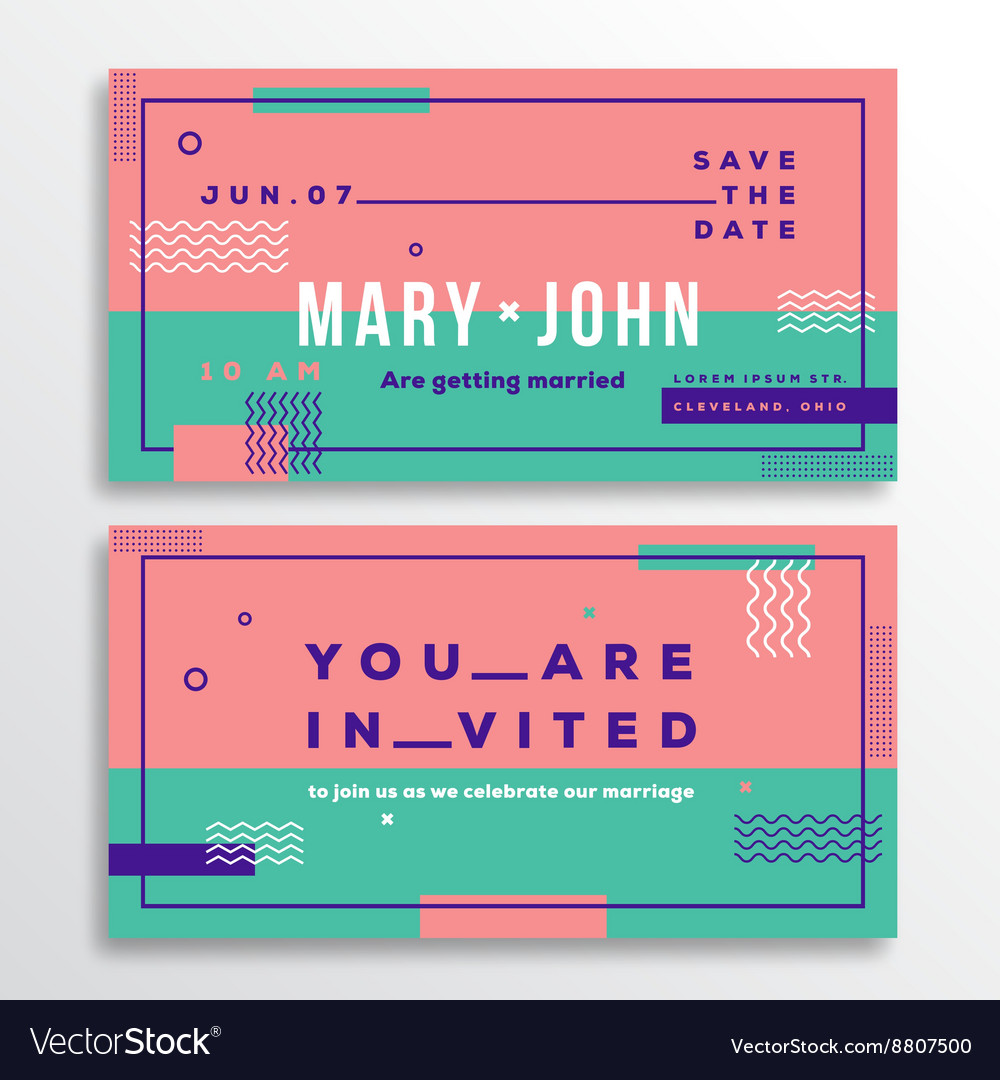Wedding invitation card template modern abstract vector image stopboris Image collections
