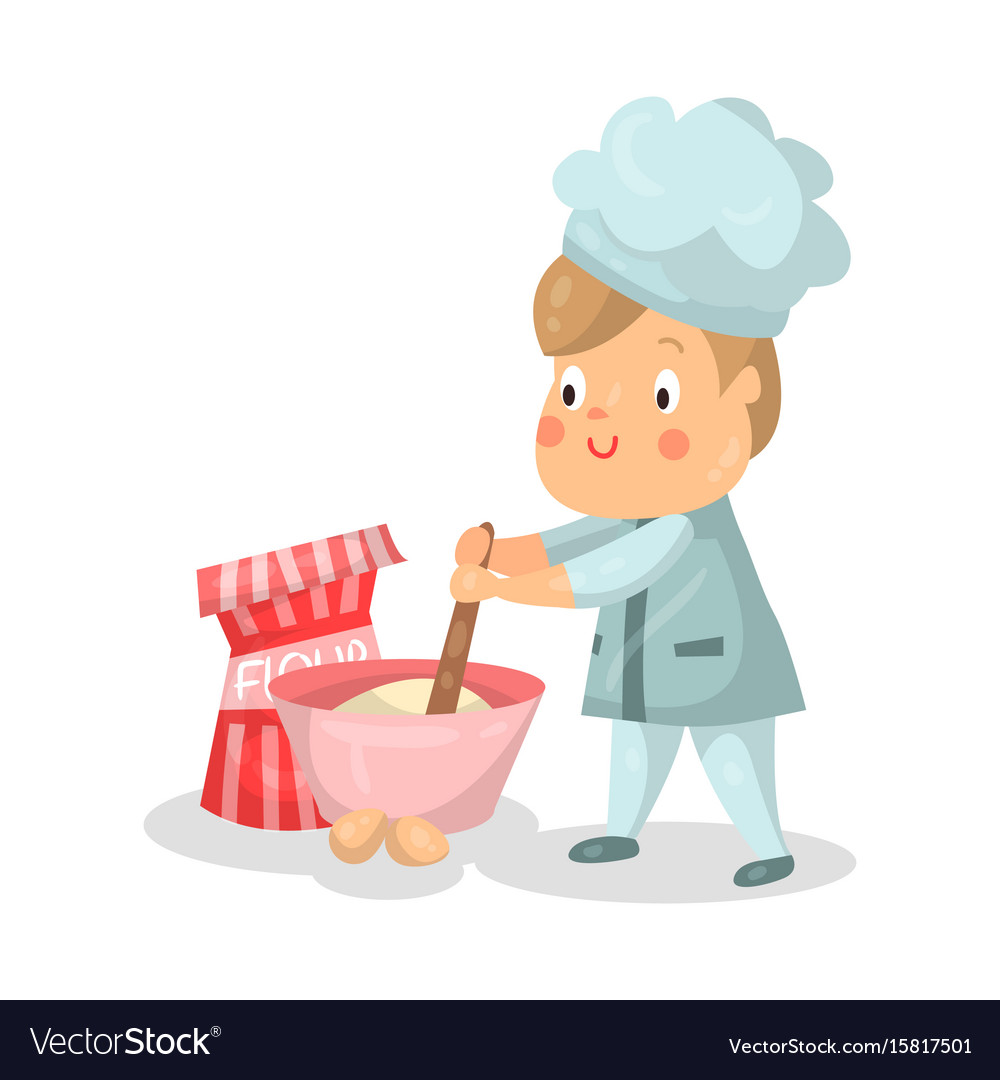 Cute cartoon little boy chef character with mixing vector image