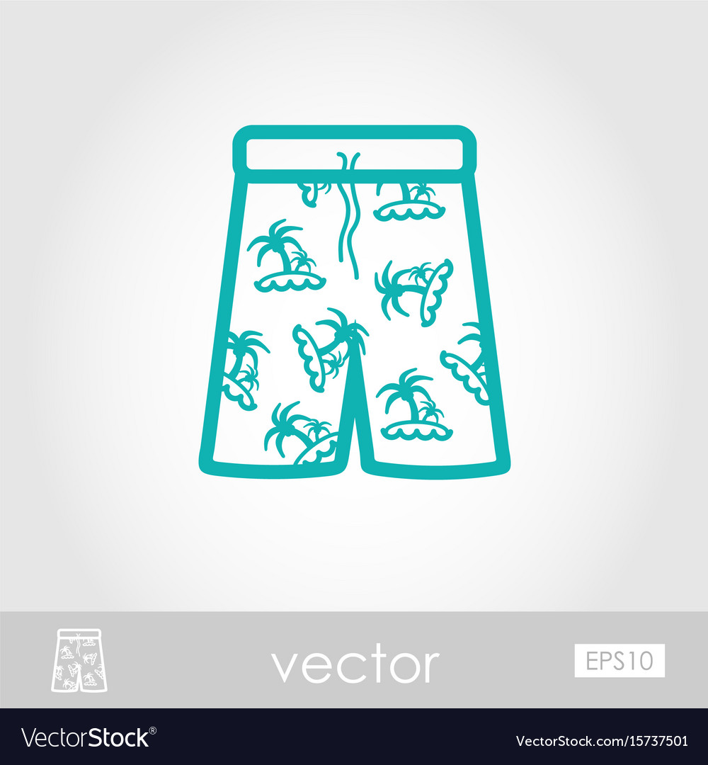 Men beach shorts icon summer vacation vector image