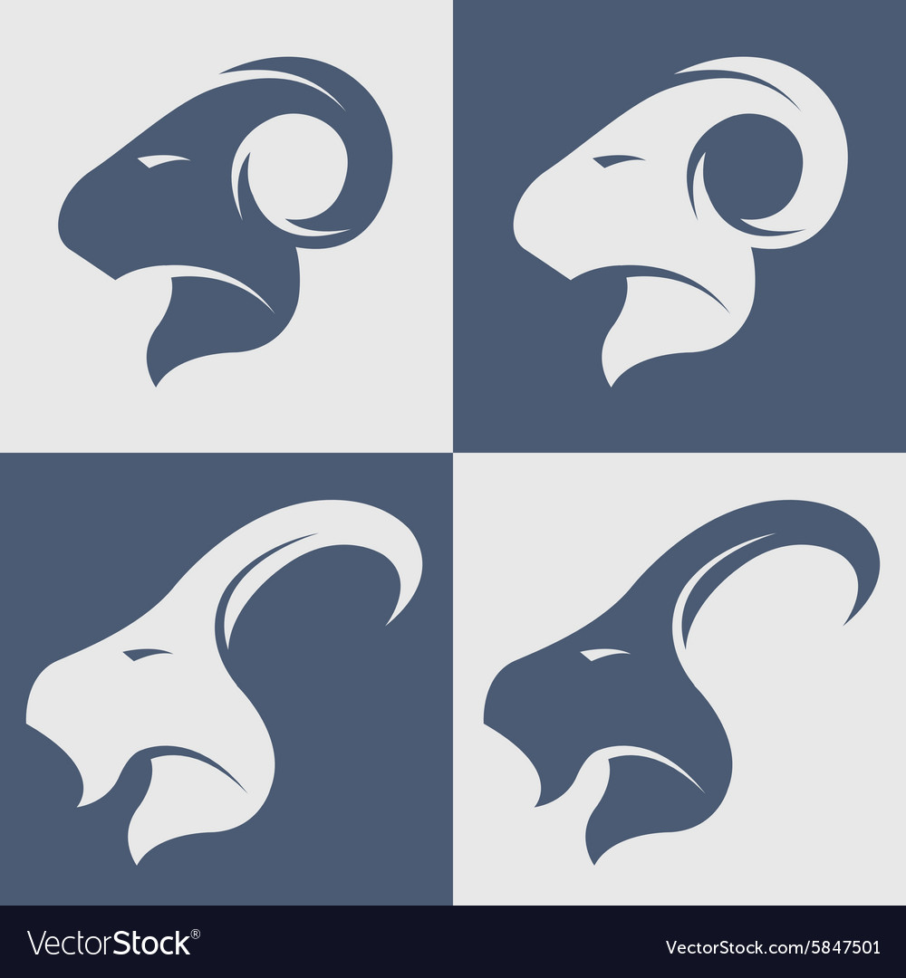 Sheep and goat symbol logo icon vector image