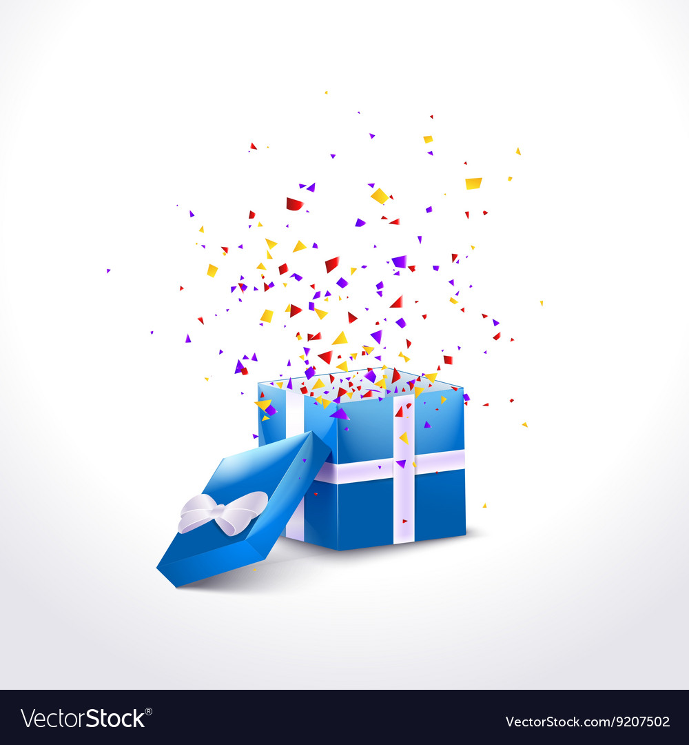 Opened Blue Gift Box with ribbon and flying vector image