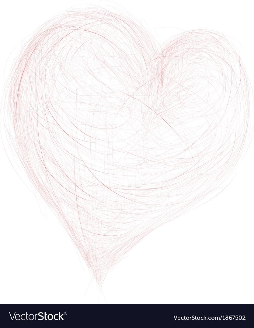 Pencil drawing heart vector image