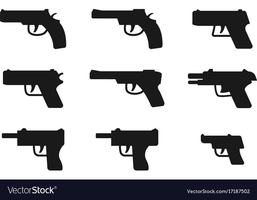Set of gun icon in silhouette style vector image
