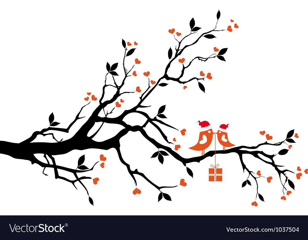 Santa birds on a tree Vector Image