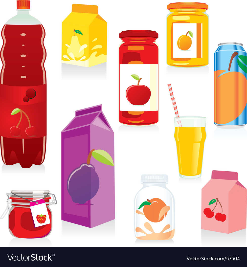Fruit drink containers vector image