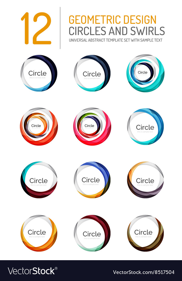 Set of abstract swirls and circles logo vector image