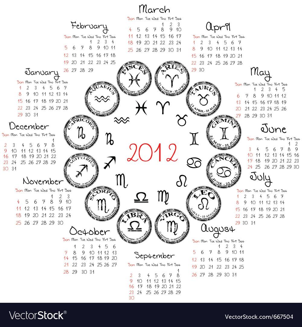 Calendar Design Zodiac : Zodiac calendar royalty free vector image vectorstock