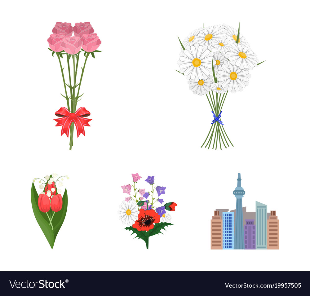A bouquet of fresh flowers cartoon icons in set vector image izmirmasajfo Choice Image
