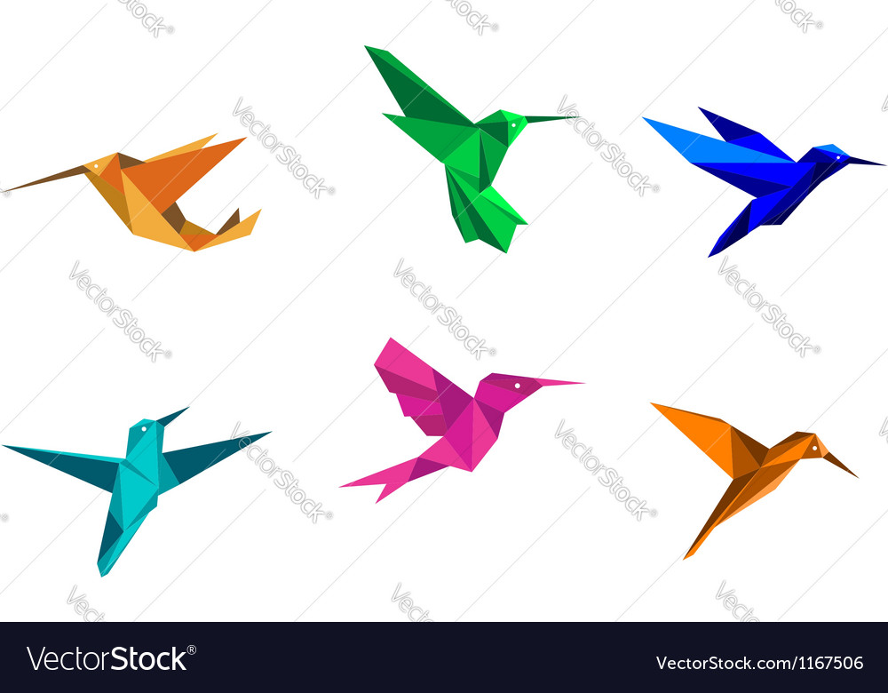 Origami hummingbirds vector image