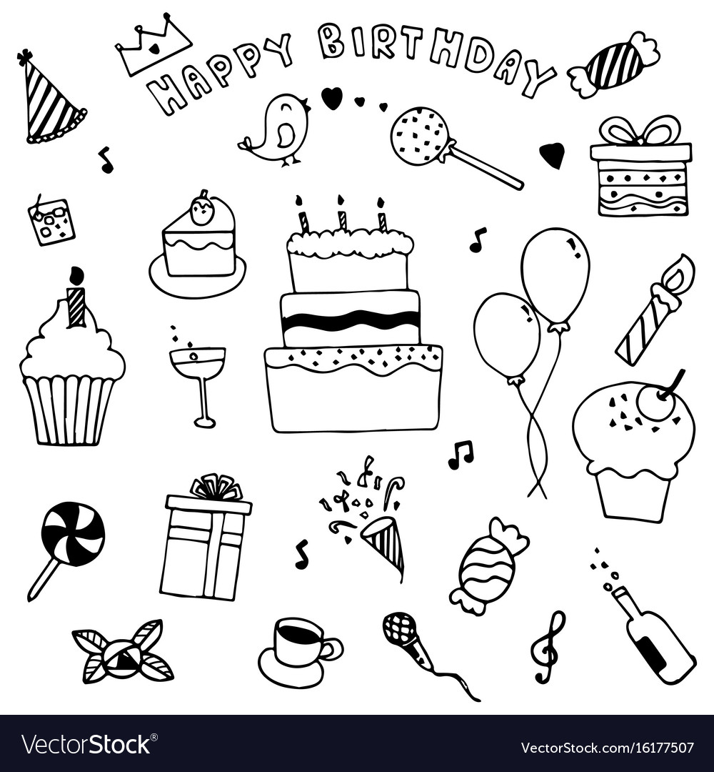 Happy birthday party elements set hand drawn of vector image