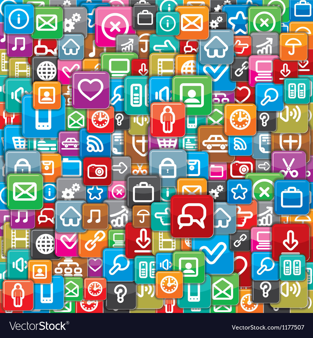 Pattern from a Different Apps Icons vector image