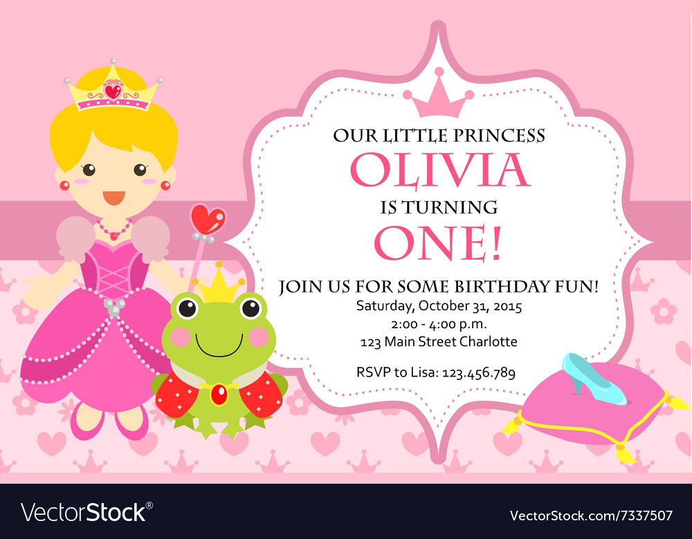 Princess Birthday Party Invitation Royalty Free Vector Image
