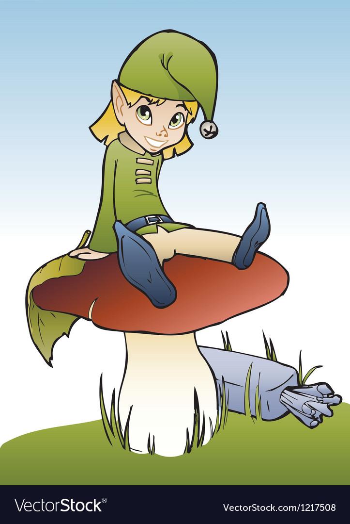 Elf on mushroom vector image