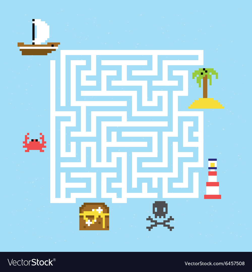 Pirate treasure maze vector image