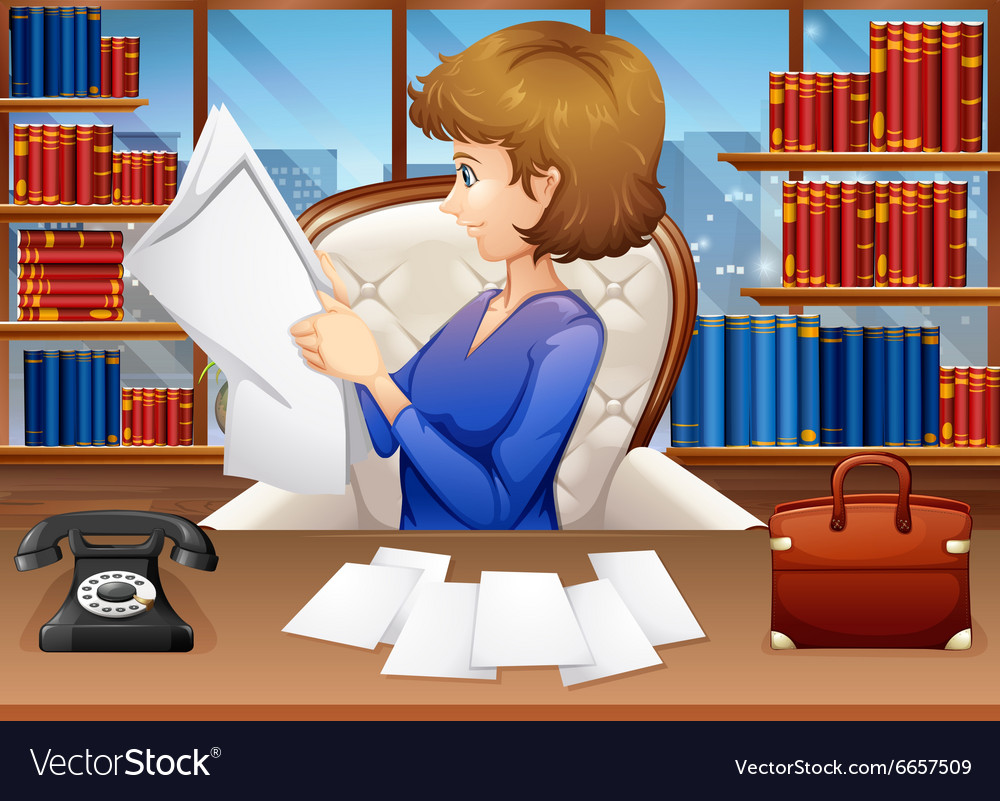 Businesswoman reading papers in office vector image