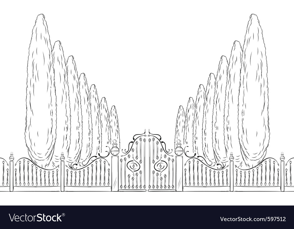 Gate with trees vector image