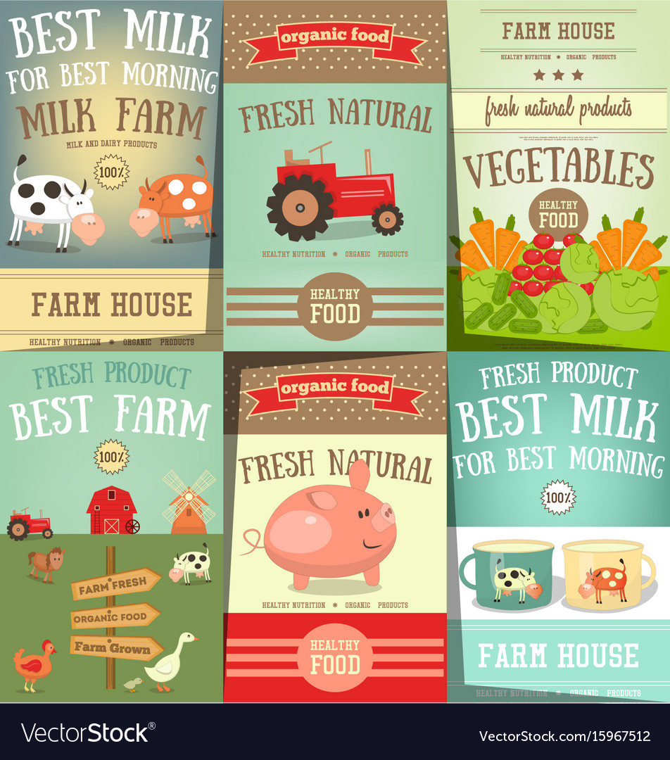 Farm food and agriculture posters set vector image