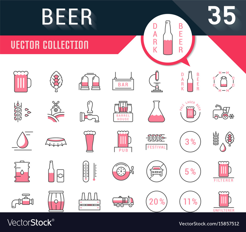 Set flat line icons beer vector image